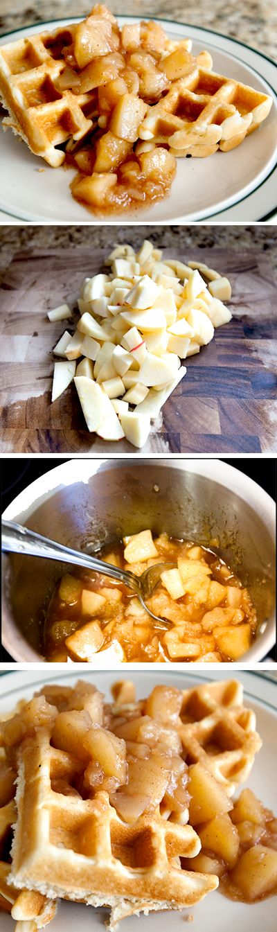 Cinnamon Apple Waffles - a fast yummy recipe for cooked cinnamon apples to serve over pancakes, waffles, ice cream, or just eat it with a spoon!