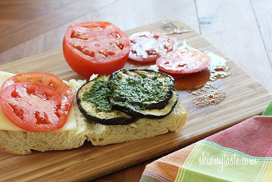 with pesto tomato and roasted eggplant spread fried eggplant sandwich ...