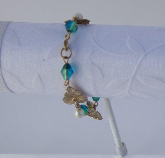 Golden Leaf Bracelet by KateMaderDecor on Etsy