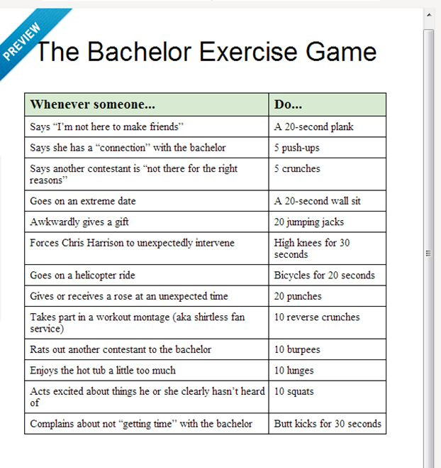 Bachelor workout game. Viewing parties doing double duty.