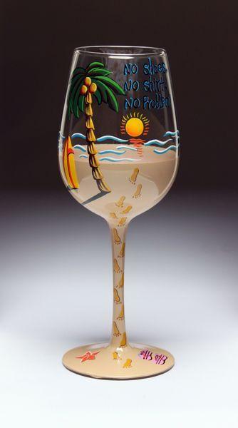 Hand painted Wine Glasses  ... Ideas... Palm Trees, Bare Feet, Beach