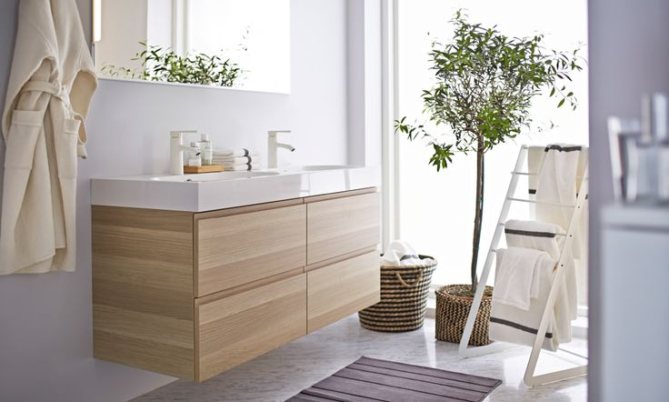 Ikea Grundtal Estante De Pared ~   mit Doppelwaschbecken und 4 Schubladen Eicheneffekt weiß lasiert