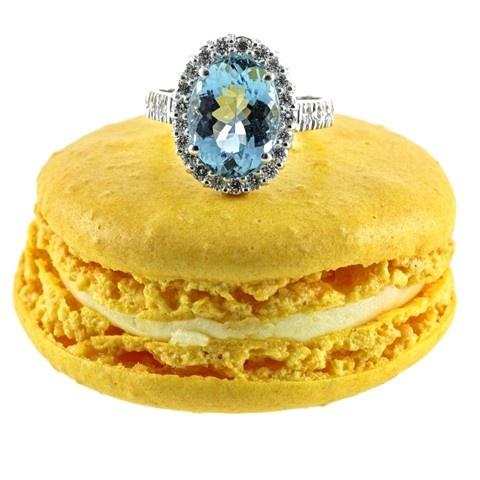 Aquamarine & Diamond Cluster Engagement Ring #Engagewithcolour