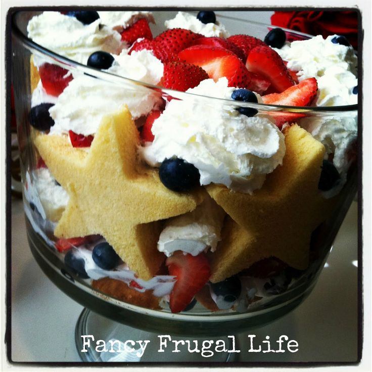 4th of july trifle - strawberries, blueberries, sara lee pound cake, star cookie cutter, whipped cream