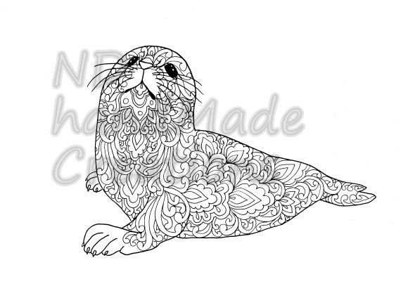 Paisley Doodle baby seal N1 animal Pattern Printable Coloring Book Sheet Adults children JPG PDF Instant Download Illustration Art Digital - pinned by pin4etsy.com