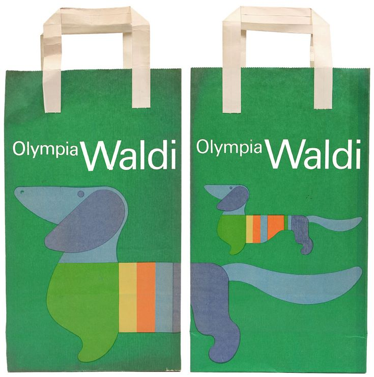 Otl Aicher, promotional product for the Olympics 1972. Munich. Featured is Waldi, the mascot. Deutsches Sport- und Olympiamuseum.