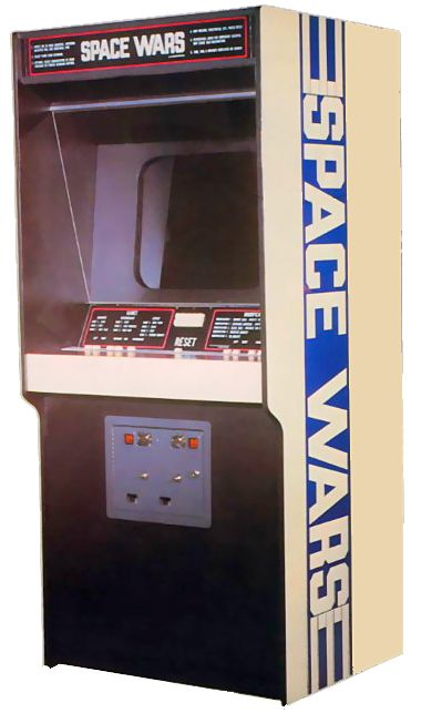 Image of the cabinet for Space Wars, an arcade video game by Cinematronics 1977