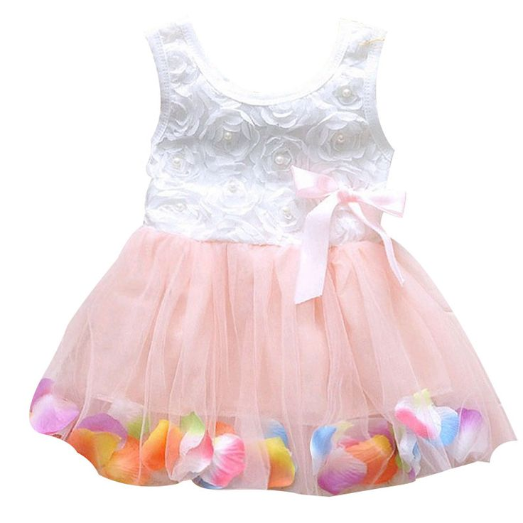 2016 Summer Colorful Mini Tutu Dress Petal Hem Dress Floral Clothes Princess Baby Dress Summer Baby Dresses 6 Color YY1584