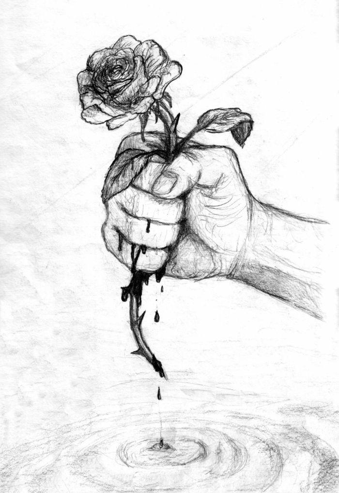 Einfache Schwarz-Weiß-Zeichnung, traurige Zeichnung für Anfänger, Kunsthand und Rose mit …