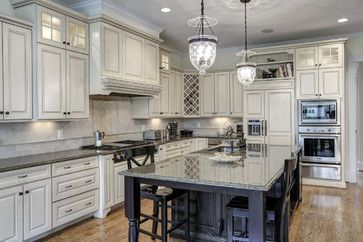 25 Glamorous Gray Kitchens - light uppers, dark lowers with dark counters