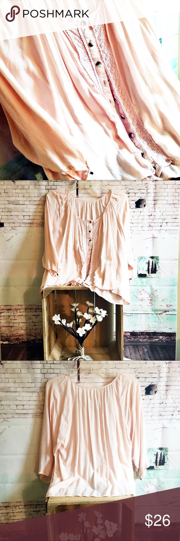 "Pale Pink Button up Top, M/L PALE PINK Smock Top Unknown brand and Size Three quarter sleeve button up.  Lace panel down the front.  Underarm to underarm is 22"" and top is 22"" long.  Guessing it to be M/L Unknown Tops"