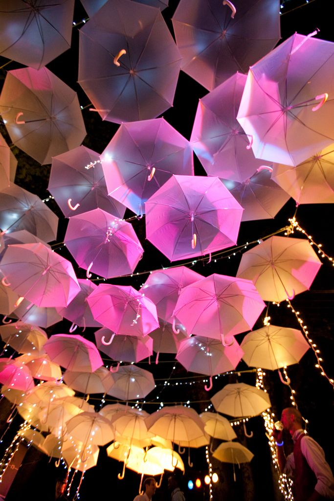 Umbrella canopy as easy DIY wedding decor. Use white umbrellas and let the lighting do the work!