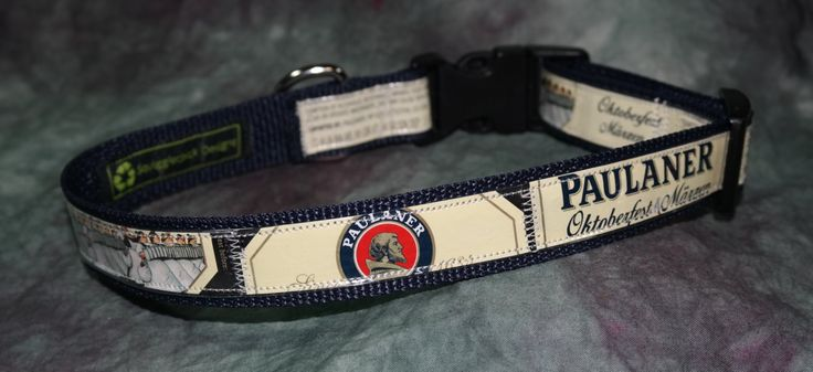Adjustable Dog Collar from recycled Paulaner Oktoberfest Marzen Beer Labels by squigglechick on Etsy