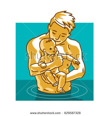 Father and small child. Dad teaches little baby to swim. Vector graphic illustration in cartoon style.