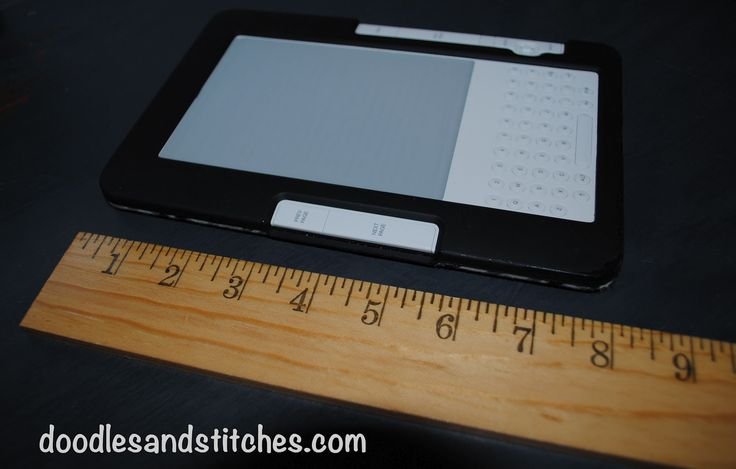 Kindle/iPad Cover Tutorial In this tutorial, I used a kindle as my pattern but you can easily use this to make a cover for any kind of device such as an iPad, Nook, etc.  Just adjust the measurements. Happy Sewing! What you need: 2 coordinating Fabrics Scissors Sewing Machine Thread Decorative Button Iron First of all, measure your device. With the case, my Kindle measures 8″ x 5 1/2″ Cut 2 pieces of fabric measuring 10 1/4″ X 7 3/4″ Cut 2 pieces of coordinating fabric mea...