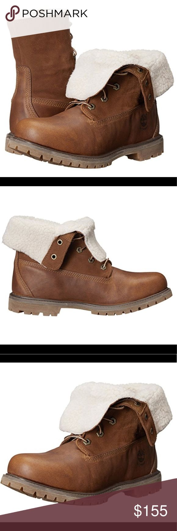 """NEW Timberland Boots NEVER WORN BEFORE! This is the authentic """"Timberland Women's Teddy Fleece Fold-Down Waterproof Boot"""" in """"Tobacco Forty Leather"""" — sold out online!! Slightly flexible with pricing :) Timberland Shoes Winter & Rain Boots"""
