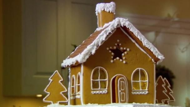 """Create your own winter wonderland with Mary Berry's gingerbread recipe. It makes a wonderful centrepiece for parties, and children will love it.   Equipment and preparation: you will need a piping bag with a medium plain and small nozzle; plus you will need to print off a <a href=""""http://downloads.bbc.co.uk/tv/christmasbakeoff/gingerbread_house.pdf"""">downloadable pdf template of the gingerbread design</a>."""