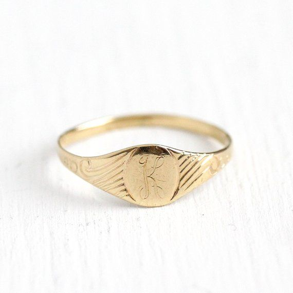 K Signet Ring Art Deco 10k Rosy Yellow Gold Letter K Baby Antique Rings Vintage Baby Gold Rings Fine Jewelry