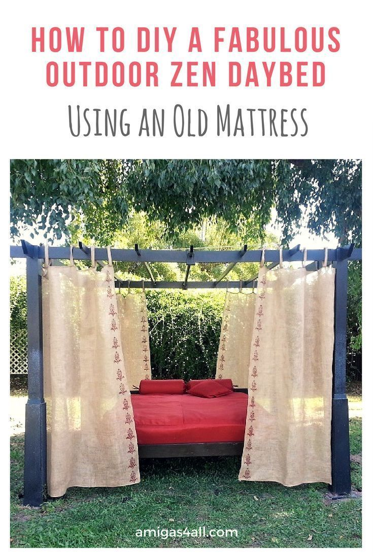 Why throw away that old mattress when you can repurpose it into a fabulous daybed. DIY daybed, DIY backyard retreat, backyard decor, backyard decor ideas, patio decor, diy patio decor, patio design, burlap curtain, diy reading nook
