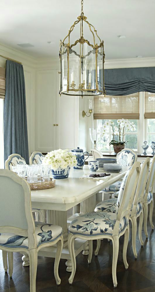 Blue and white dining area