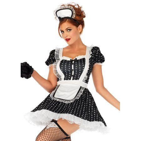 Leg Avenue Womens Sexy 2 PC Sexy French Maid Costume, Size: Women S/M, Black