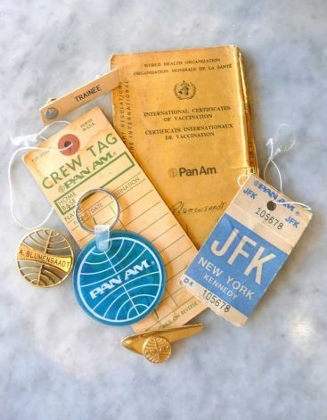 A Pan Am collage of saved crew tags, a vaccination ID, key rings and badges worn and saved by long-time Pan Am stewardess Ann Blumenstaadt. Photo: Robert Jenna / For The Greenwich / CT