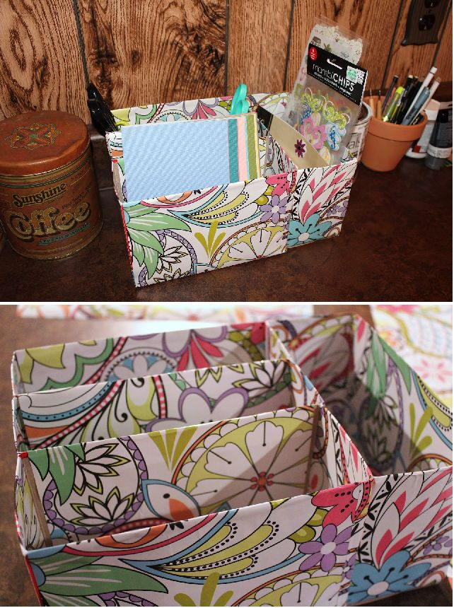 DIY Recycled Cereal Box Craft Organizer (wrapped in contact paper)