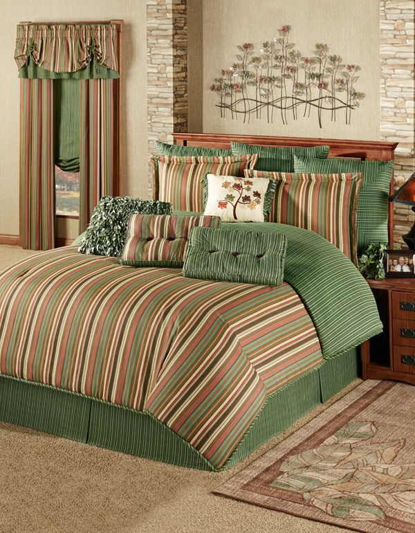 The Riverpark Striped Comforter Bedding Brings The Hues Of The Forest To Your Bedroom The Oversized Br Bed Comforters Bed Linen Design Contemporary Bed Linen