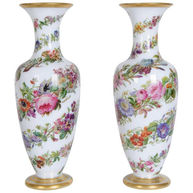 Pair of Opaline Glass Vases by Baccarat | 1stdibs.com