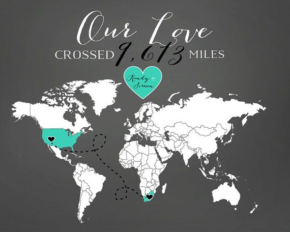 Love Mileage across the World - 8x10 Personalized Map Art Print for Home Decor, Long Distance Relationships, Chalkboard Love Map on Etsy, $30.99