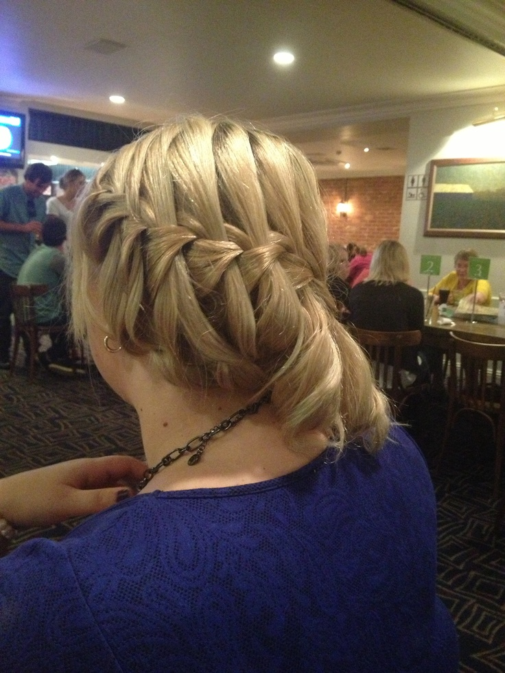 Water fall braid with pin curls