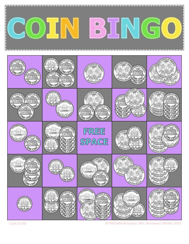 Adding Coins Bingo Game! 30 cards in 6 colors.  Great for money math review and counting coins.