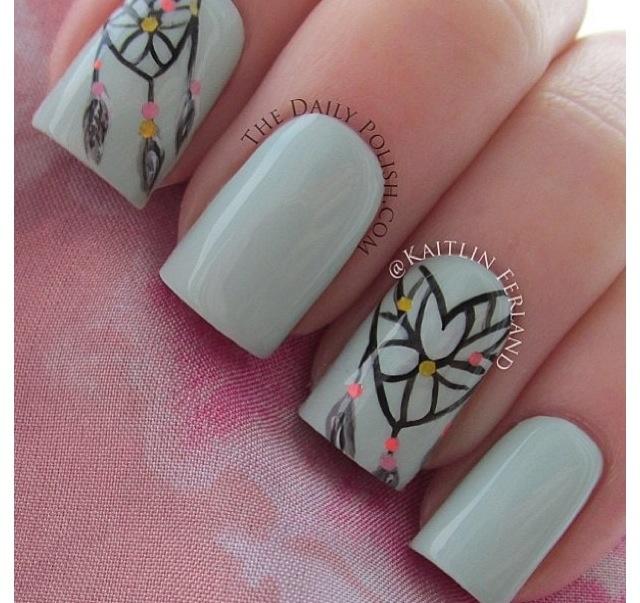 Heart dream catcher nails<<3