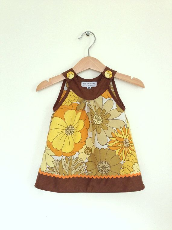 New born girl baby dress 0 to 6 months, mustard vintage flowers, by ThisisLullaby, £25.00