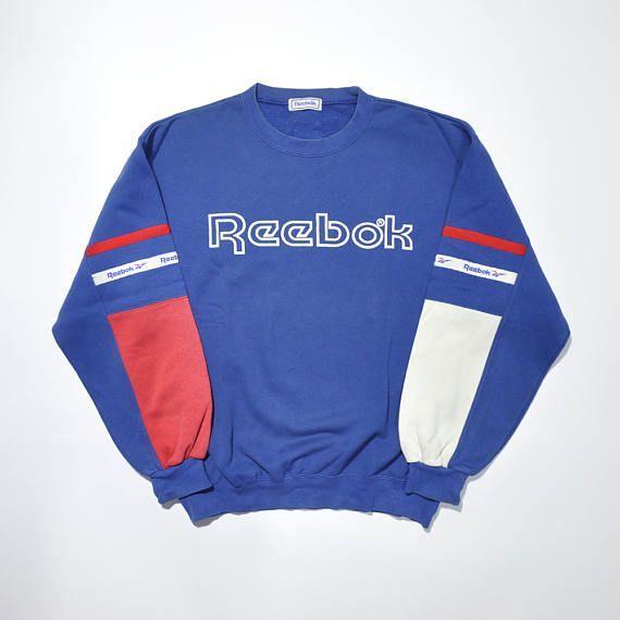 Rare Vintage 90s REEBOK Crewneck   REEBOK Sweater   REEBOK Sweatshirt    Reebok Pullover   Reebok Classic   Reebok Jumper   Color Block 791c733ee