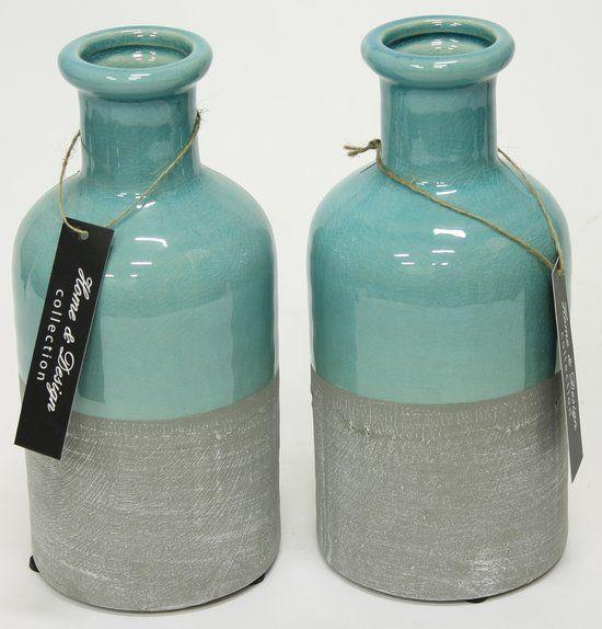 Woon247 Decoratie Vazen set van 2 blauw - Grijs h20,5 cm