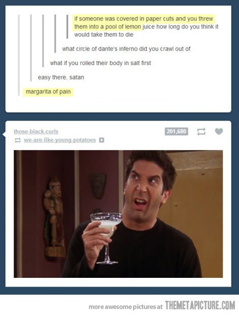 Pinning for all above comments especially Dante's Inferno one and Ross's face.