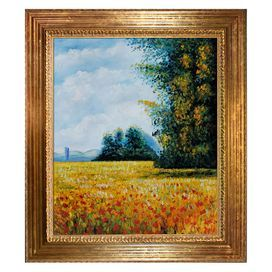 """Bring iconic style to your living room, foyer, or bedroom with this hand-painted reproduction of Claude Monet's Champ d'Avoine, artfully framed for gallery-worthy appeal.  Product: Framed canvasConstruction Material: Artist canvas, oil paint and solid wood frameColor: Gold frameFeatures:  Certificate of authenticity includedReproduction of original art by Claude MonetHardware includedDimensions: 31"""" H x 27"""" WCleaning and Care: Wipe clean with damp cloth"""
