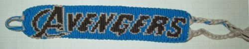 Really cool Avengers Embroidery Bracelet. Blue, Black and Grey http://omfgfriendshipbracelets.tumblr.com/post/22580425319/morjik-i-was-ready-for-the-midnight-showing