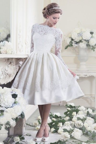 Knee Length Lace Mikado Wedding Dress with Illusion Lace Sleeves #221984