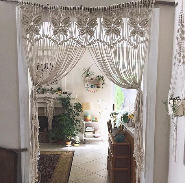 Those curtains though...must learn how to make those - macrame