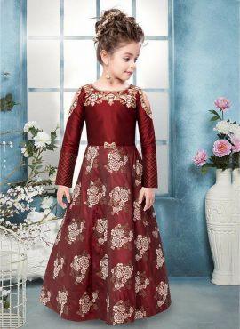 6bf307a35e64 Maroon Art Silk Kids Designer Gown 718266