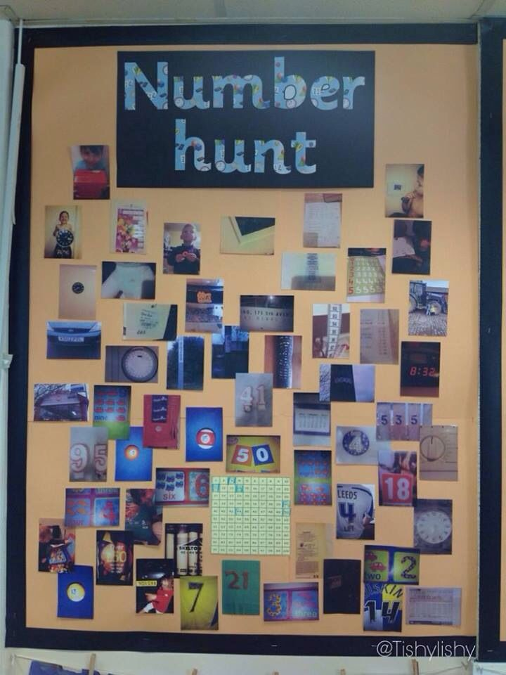 Number hunt. Great idea to get the children identifying and looking for number.