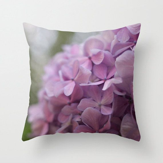 Radiant Orchid, Violet Tulip, Purple hydrangea, decorative throw pillow case cushion cover ideal as a gift for nature's and spring's lovers