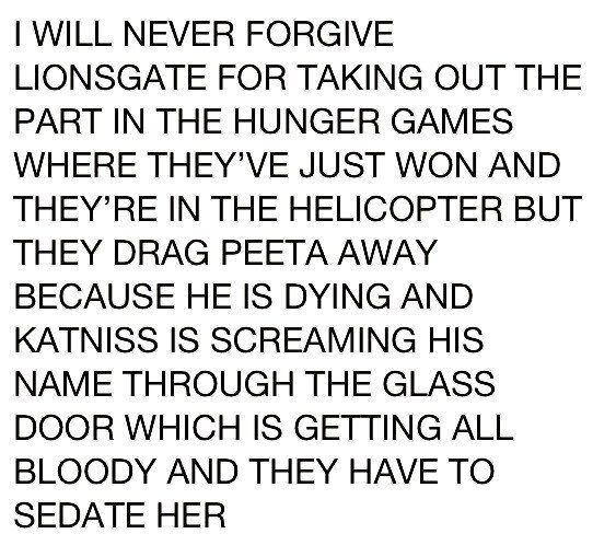 Hunger games problems. That was the part I missed most too.
