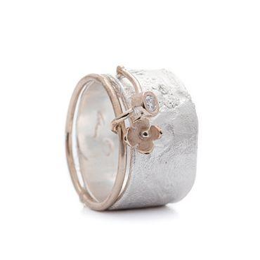 Ring zilver bloem   Wim Meeussen &CTRA Zilveren Juwelen Antwerpen