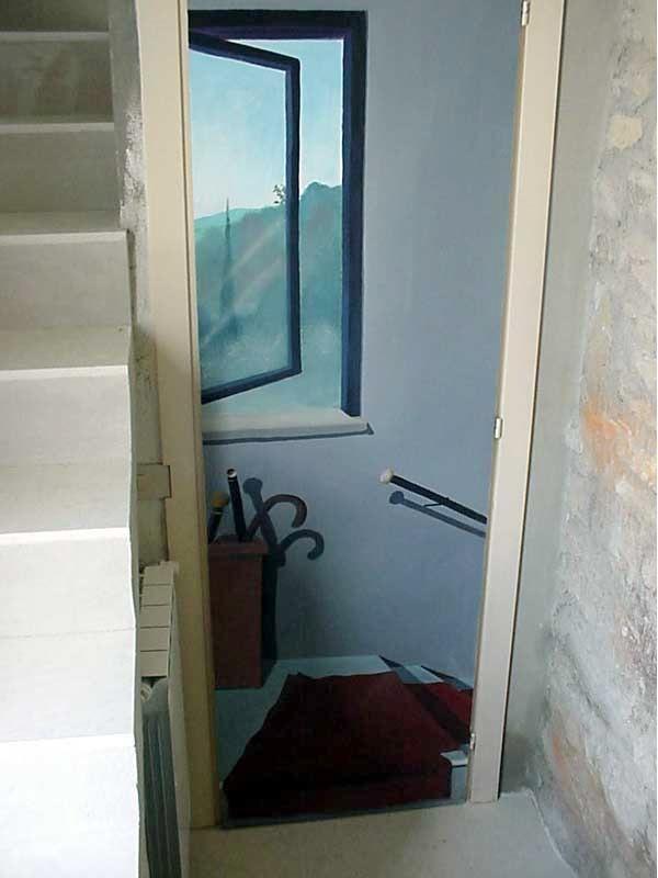 Porta bagno dipinta
