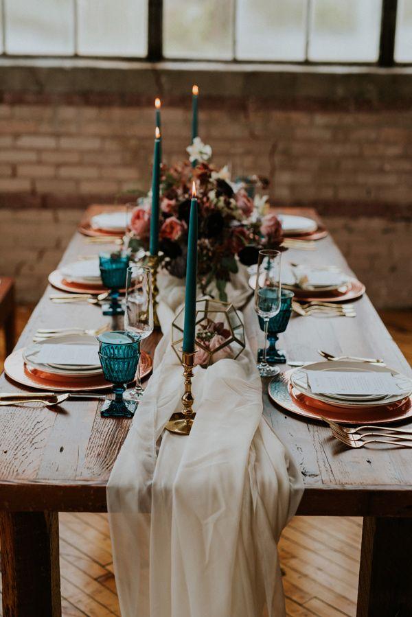 Teal petrol Tischgedeck Hochzeit Kerze                                                                                                                                                                                 Mehr