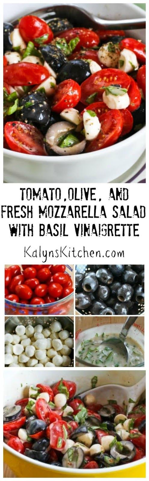 As soon as I can get fresh basil and good tomatoes I start making this Tomato, Olive, and Fresh Mozzarella Salad with Basil Vinaigrette, and I make it all summer long! And this amazing salad is low-carb, low-glycemic, gluten-free,  and South Beach Diet friendly! [from KalynsKitchen.com]