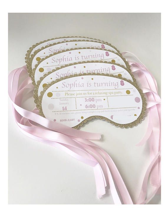 Spa Mask Invitation Sleeping Mask Invitation Eye Mask Invitation